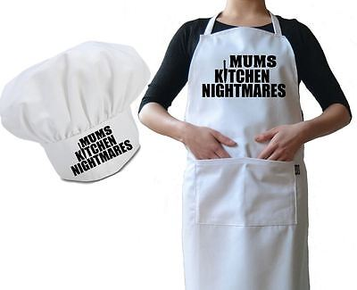 Personalised Chef Hat & Apron Mums Kitchen Nightmares Funny Novelty Luxury Gift