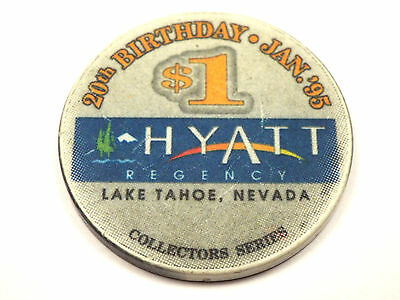 HYATT REGENCY Casino $5 Chip Happy 20th Birthday 1995 Lake Tahoe Nevada NV