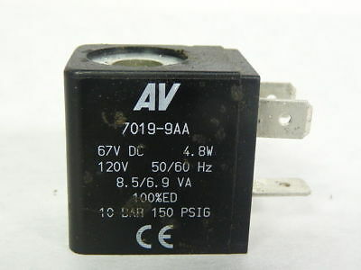 Automatic Valves 7019-9AA Solenoid Coil 60VDC 150PSI 110/120V 50/60Hz  USED