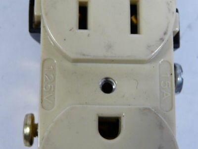 Hubbell CR15 Ivory Duplex Receptacle 15A 125V 3W 2P  USED