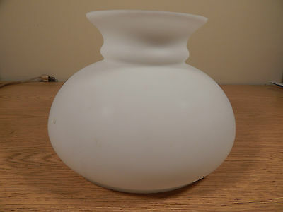 "VINTAGE WHITE FROSTED OIL LAMP SHADE, 7"" FITTER"