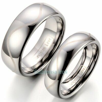 Polished Dome Laser Engraved Tungsten Carbide Ring 8mm His6mm Hers Wedding Band