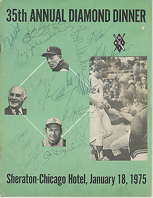 1975 BBWAA Dinner Program Signed Charlie Finley Frank Robinson Jack Brickhouse+
