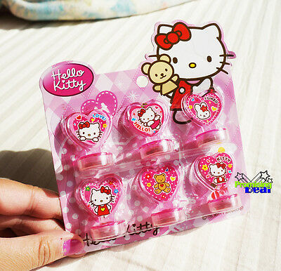 New Cute Hello Kitty 6 Rubber Stamper Stamps Set