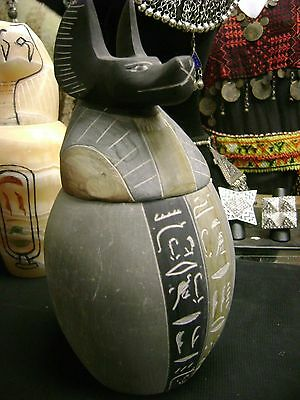 Unique  Large Heavy  God Anubis Canopic  Jar Natural Stone    Made in Egypt