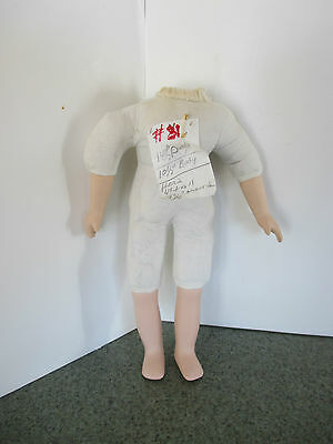"""#31 VINTAGE CLOTH DOLL BODY WITH BISQUE/PORCELAIN LEGS & ARMS 14-1/2"""" DOLL"""