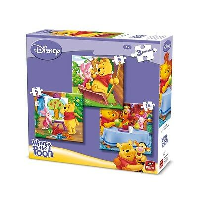 3 Disney Winnie The Pooh Jigsaw Puzzles (4 - 16 Pieces) by King. New, sealed.