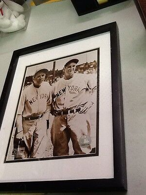 Vintage Babe Ruth & Lou Gehrig Yankees 8x10 Photo in 12x15 Frame w/ MLB Seal
