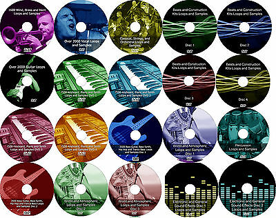 Loops + Samples, 45,000 audio music DJ wav hip hop dubstep trance 24 DVD