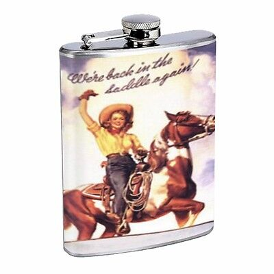 Western Pin Up Girl With Horse D240 Flask 8oz Stainless Steel Vintage Cowgirl