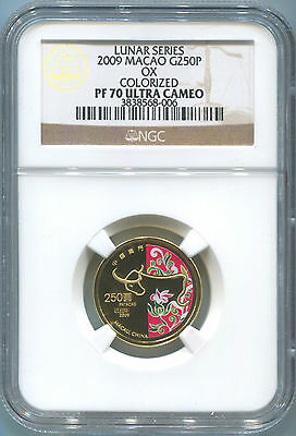 2009 Macao 250 Patacas. 1/4 Oz. Gold. Colorized. Year of the Ox. NGC PF70. Proof