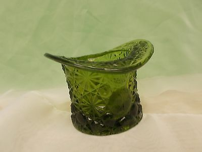 Fenton Daisy & Button Olive Green Large Glass Top Hat
