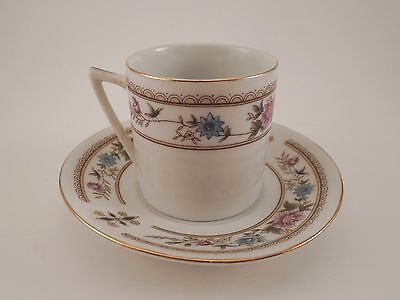 Small Floral Demitasse Espresso Cup and Saucer Made in China Tower Mark