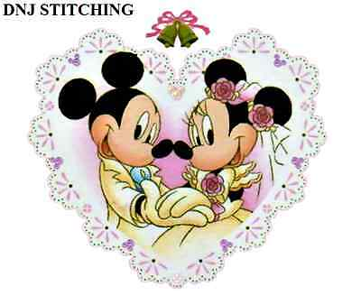DISNEY'S MICKEY AND MINNIE MOUSE WEDDING HEART CROSS STITCHING PATTERN. LOVE