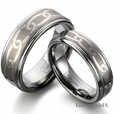8mm/6mm Polished Laser Celtic Pattern Tungsten Carbide Men's Women's Band Rings