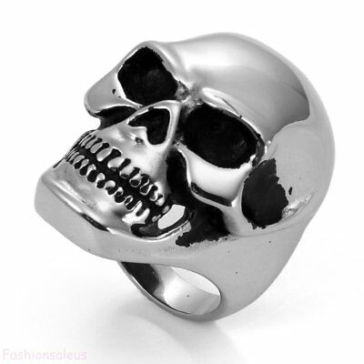 Polished Stainless Steel Big and Heavy Skull Men's Boy's Cool Band Size 8-14
