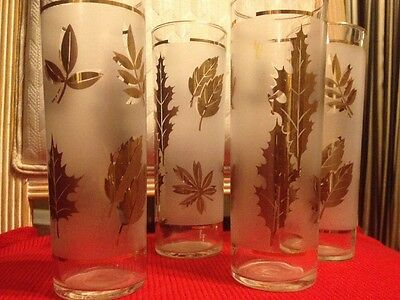 """Four (4) 7""""h X 2.5w ANTIQUE Frosted Glass Tumblers w Gold Leaf Assortment Design"""