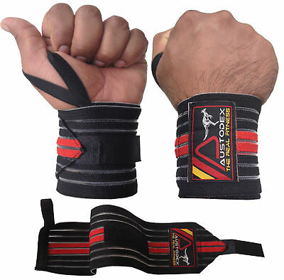 Austodex Bodybuilding Weight Lifting Gym Training Wrist Support Bar Straps Wraps