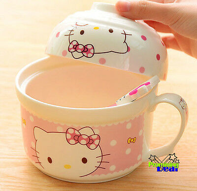 New Cute Hello Kitty Ceramic Soup Noodle Bowl & Rice Bowl c/w spoon