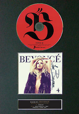 BEYONCE 4 Signed Autograph CD & Cover Mounted Print A4 1