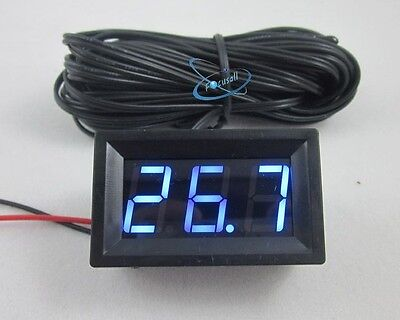 Blue DC12V Digital Thermometer With 5m meter Probe -50~110C Temperature Detector