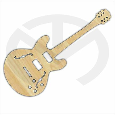 "Unfinished Wood Laser Cut Electric or Bass Guitar, Ready to Paint, 23.3"" x 9.5"""