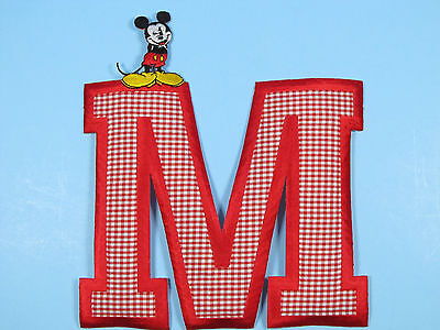 Disney World Embroidered Iron On Jacket Patches Mickey Mouse on Large Red 'M'