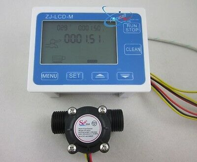 "G1/2"" Flow Water Sensor Meter+Digital LCD Display Quantitative Control 1-30L/min"