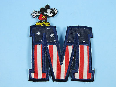 Disney World Characters Embroidered Iron On Patches Mickey Mouse on Patriotic M