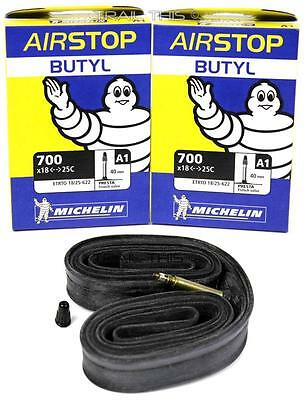(2) Two Michelin Airstop Butyl Road Bicycle Tubes 700x18-23-25 40mm Presta 700c