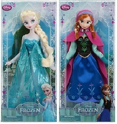 """Disney Store Exclusive Frozen Disney Classic Doll Collection Elsa and Anna 12"""""""