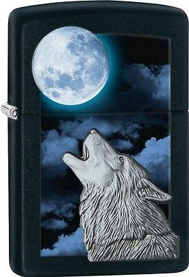 Zippo 2015 Catalog Howling White Wolf Black Matte Windprof Lighter 28879 *NEW*