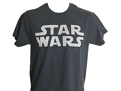 Star Wars White and Charcoal Logo Vintage Classic Movie Men's T shirt NWT S-2XL