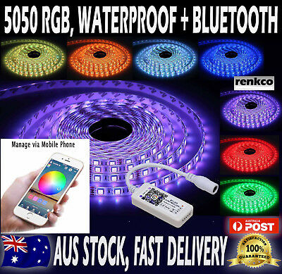 Waterproof 12V 5050 SMD RGB LED Strip Lights 5M 300 LEDs + Bluetooth Controller