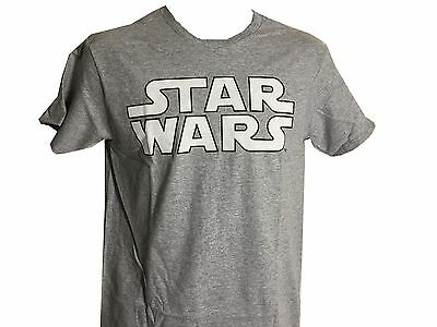 Star Wars White and Gray Logo Vintage Classic Movie Men's T shirt NWT S-2XL