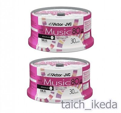 60 Victor JVC Blank Music CDR Discs 80min 48x CD-R CD-A80T30W from JAPAN