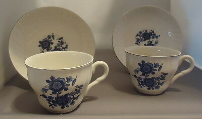 Two (2) Royal Blue Ironstone Enoch Wedgwood Tunstall Cups & Saucers