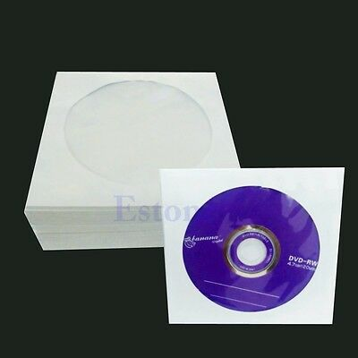 Whole 50/100pcs 5inch CD DVD Window Paper Bag Flap Sleeves Case Cover Envelopes