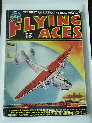 FLYING ACES May 1939 August Schomburg cover G American Pulp