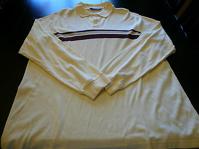MENS LS CREAM W/BLK TAN & BURGUNDY STRIPE POLO BY ROUNDTREE & YORKE XLT LN