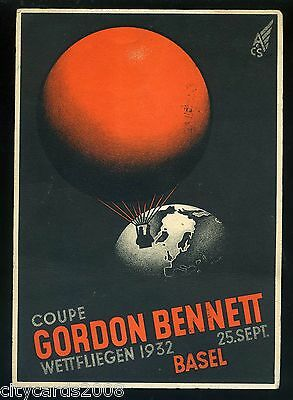 1932 Switzerland Gordon Bennett BALLOON Race Card witih special label