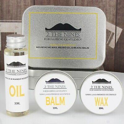2 The Nines™ Moustache Wax, Beard Oil & Balm - Grooming Kit (Vanilla & Mango)