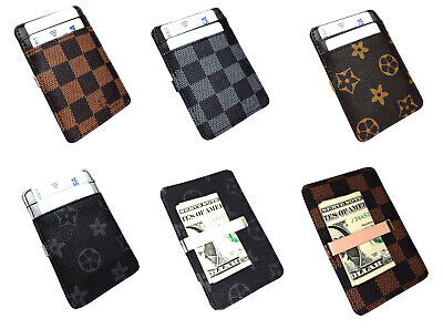 Mens Wallet Money Clip Card Holder ID Card Travel Leather Black Grey  Faux
