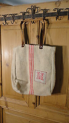 Antique European Grain Sack,Tote Bag, Book Bag,Ipad Bag,Purse.#6488