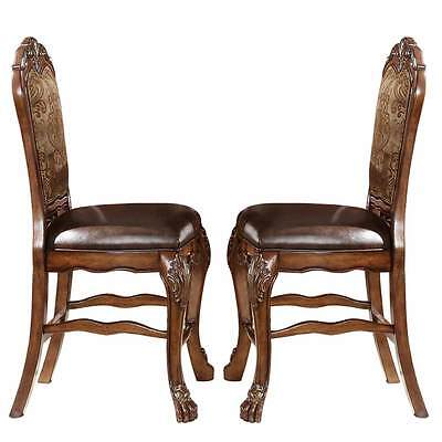 2 pc Dresden Traditional Cherry Oak Counter Height Dining Side Chairs Claw Foot