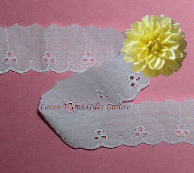 11 Yd Eyelet Trim White Scalloped Lace 1-1/4 CLOSEOUT LA763V More Ship No Charge