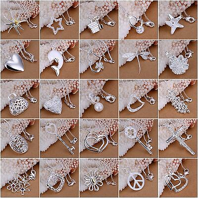 Fashion Ladys Jewelry 925Sterling Soild Silver Necklace Women Chain Link Pendant