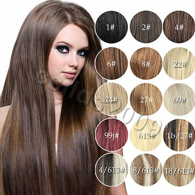 """New AAA15""""-22""""Clip In Remy Real Human Hair Extensions Straight Any Color 75g"""