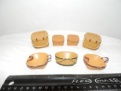 Lot of 7 Dollhouse Miniatures Longaberger Type Baskets Oval Picnic Resin