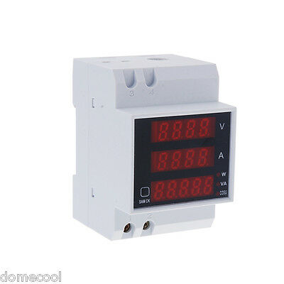 AC 110 220-240V Digital Din Rail 100A Watt Power Meter Ammeter Voltmeter 80-300V